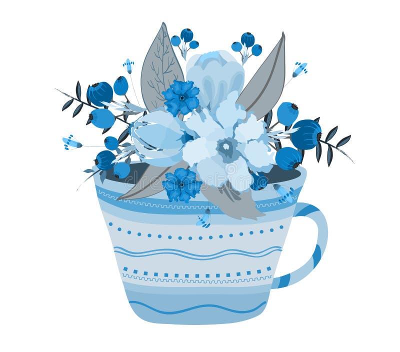 与茶杯的创造性的例证有很多水彩开花 向量例证