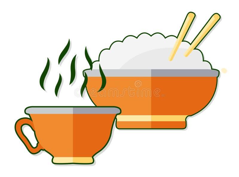 与茶的平的例证和米 向量例证