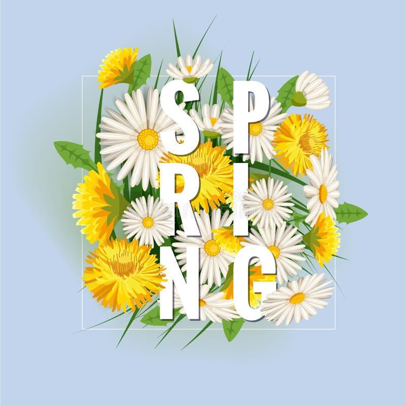 与草、蒲公英和雏菊的新春天背景 传染媒介,海报,模板 库存例证