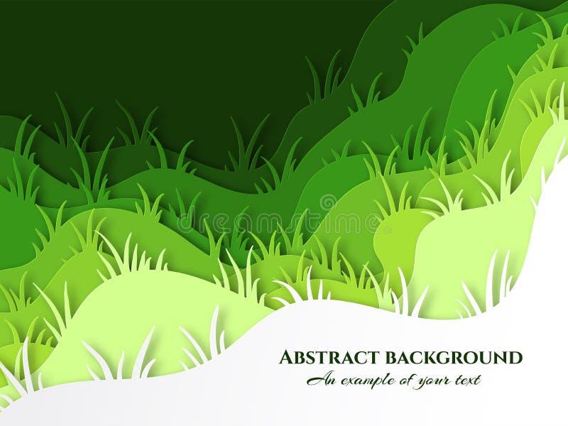 与草和小丘的层状背景 新草坪草纹理 3D海报的设计,包装,广告 皇族释放例证