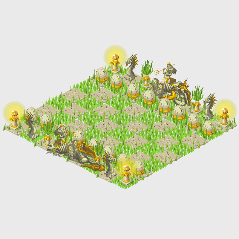 与草和海洋图的绿色风格化棋 库存例证