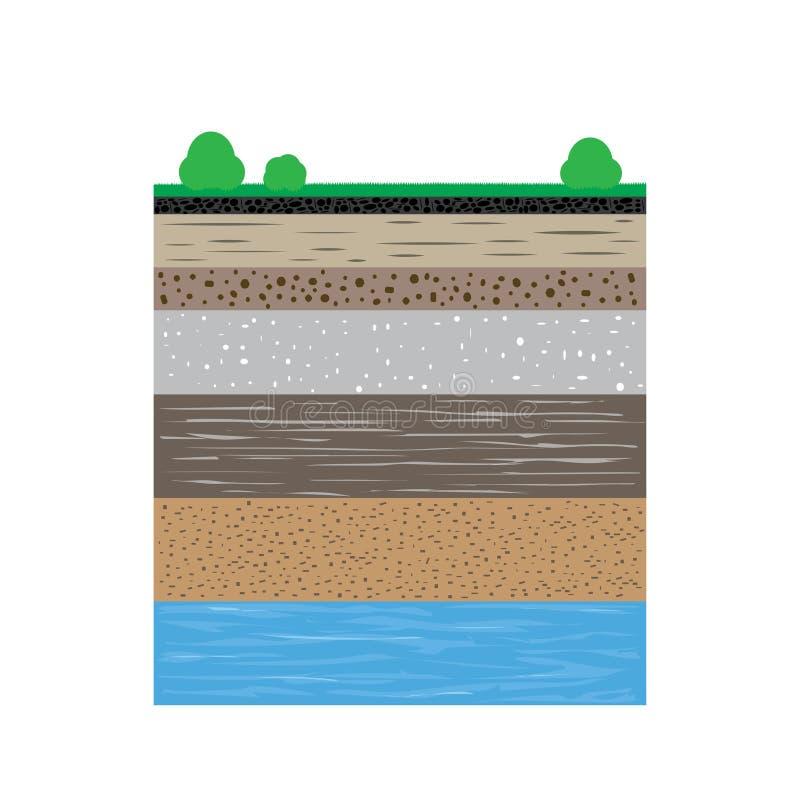 与草和灌木的土壤剖面 向量例证