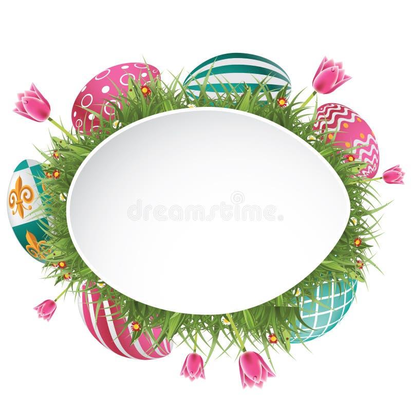 与草和郁金香的愉快的复活节彩蛋狩猎背景 向量例证