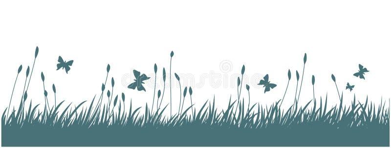 与草和蝴蝶的风景 库存例证