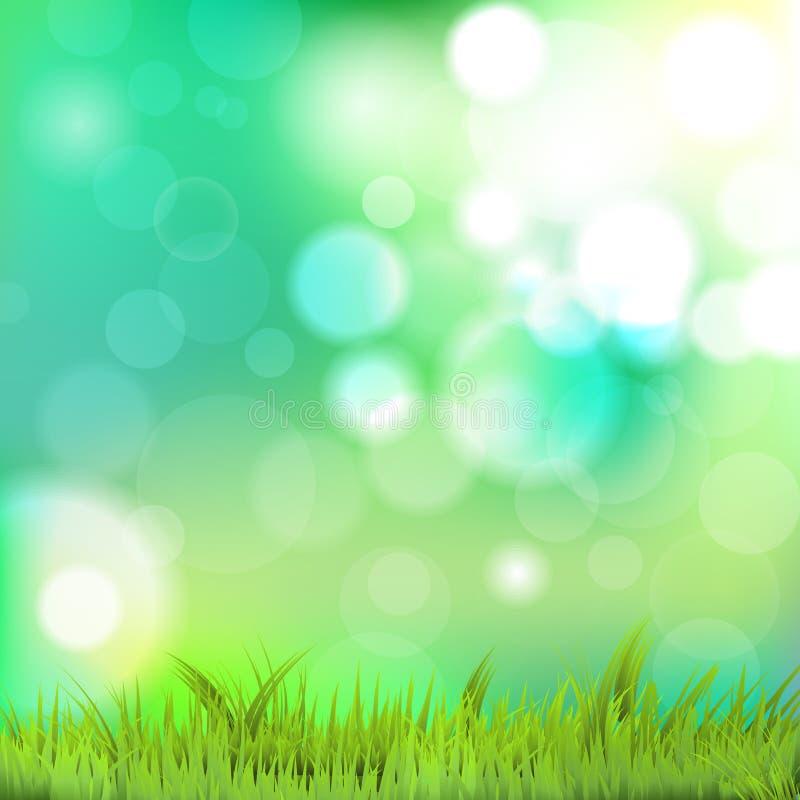 与草和bokeh的自然背景 皇族释放例证