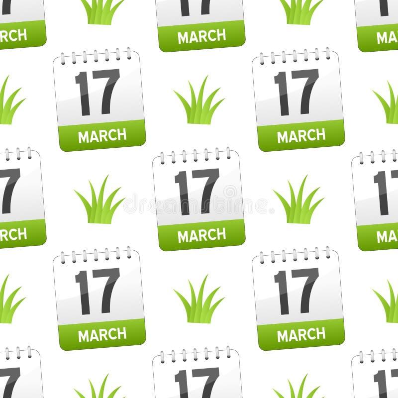 与草无缝的样式的3月17日 库存例证