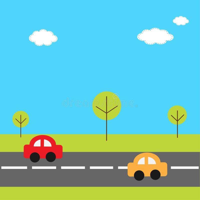 与草树路和动画片汽车的背景 库存例证