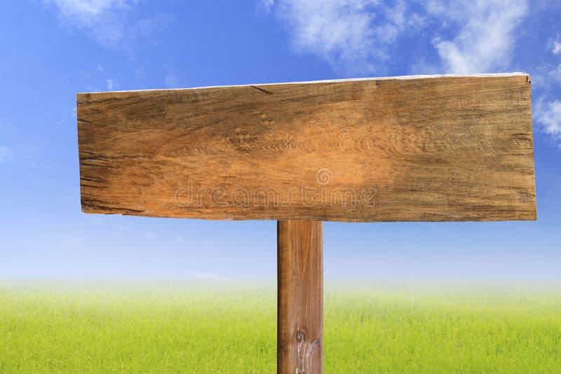 与草甸和草地背景的木牌 免版税库存照片