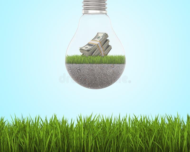 与草的电灯泡和美元里面在天空背景,鲜绿色的领域 免版税图库摄影