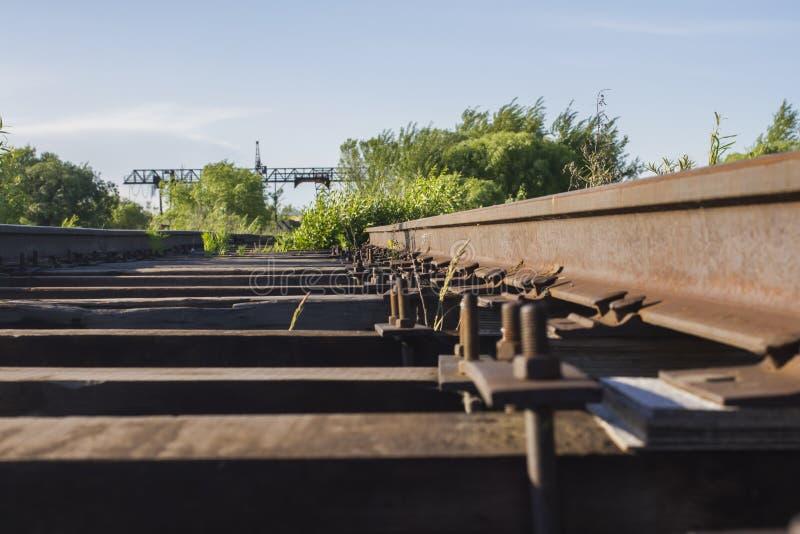 与草的老铁路在起重机的背景 免版税库存照片