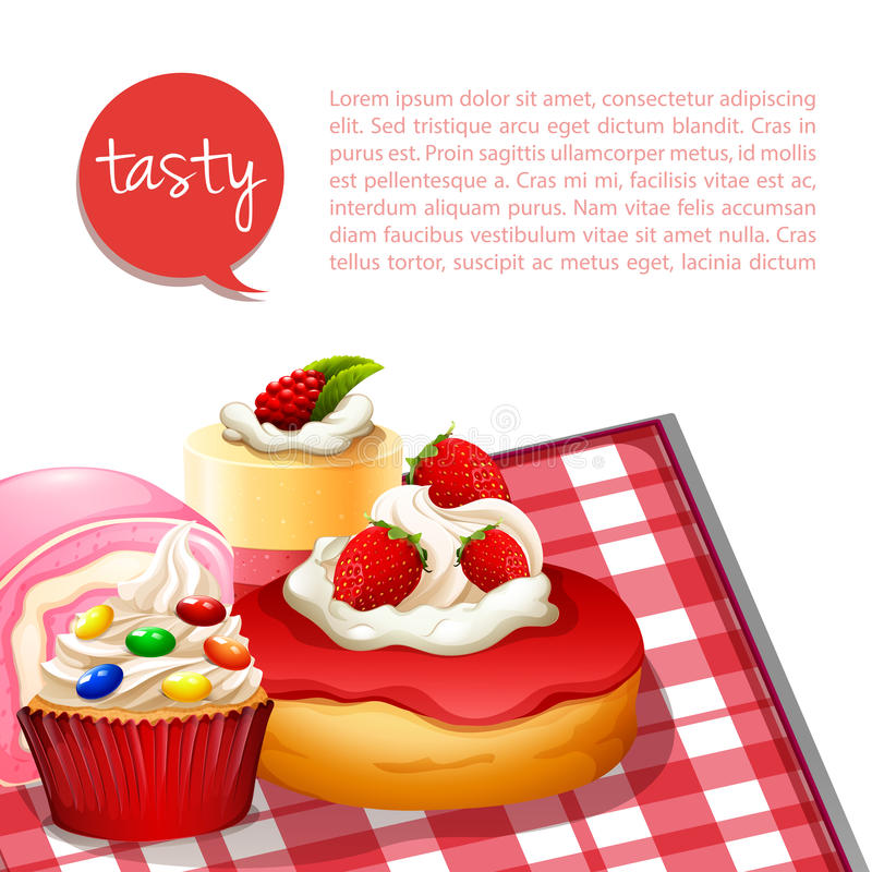与草莓味道的Infographic点心 向量例证