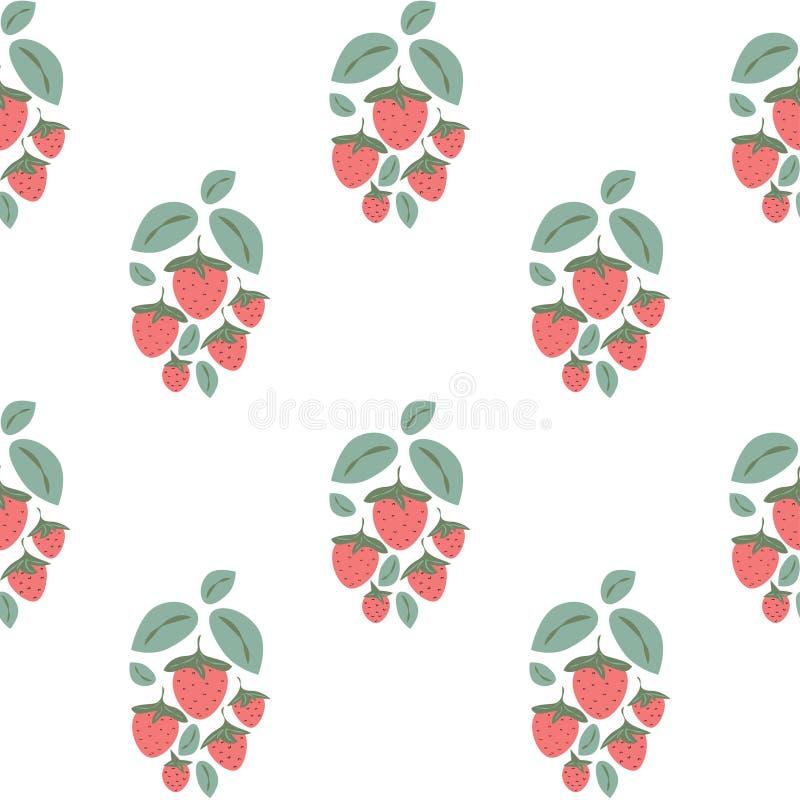 与草莓灌木的无缝的样式在白色背景的动画片样式 红色草莓和绿色叶子 向量例证