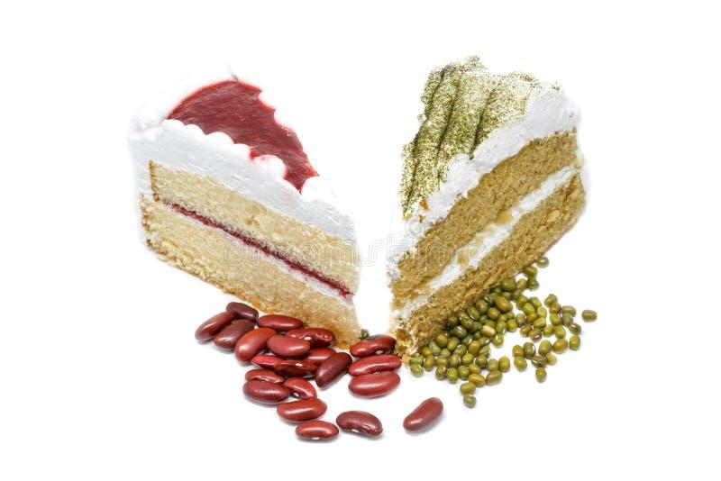 与草莓蛋糕的绿茶蛋糕 库存照片