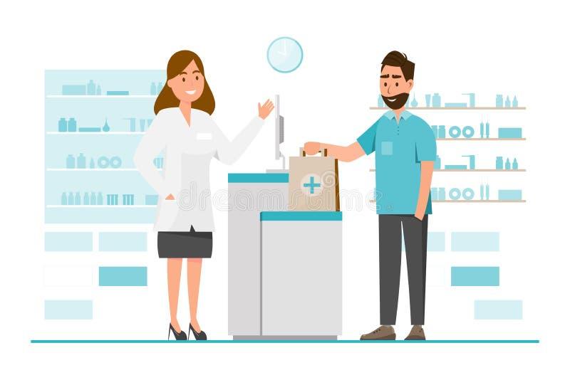 与药剂师和客户的药房柜台的 向量例证