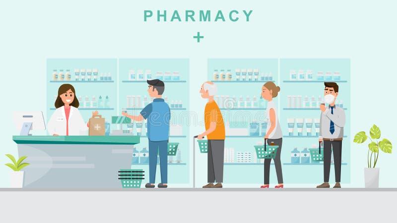 与药剂师的药房柜台和人购买医学的 库存例证