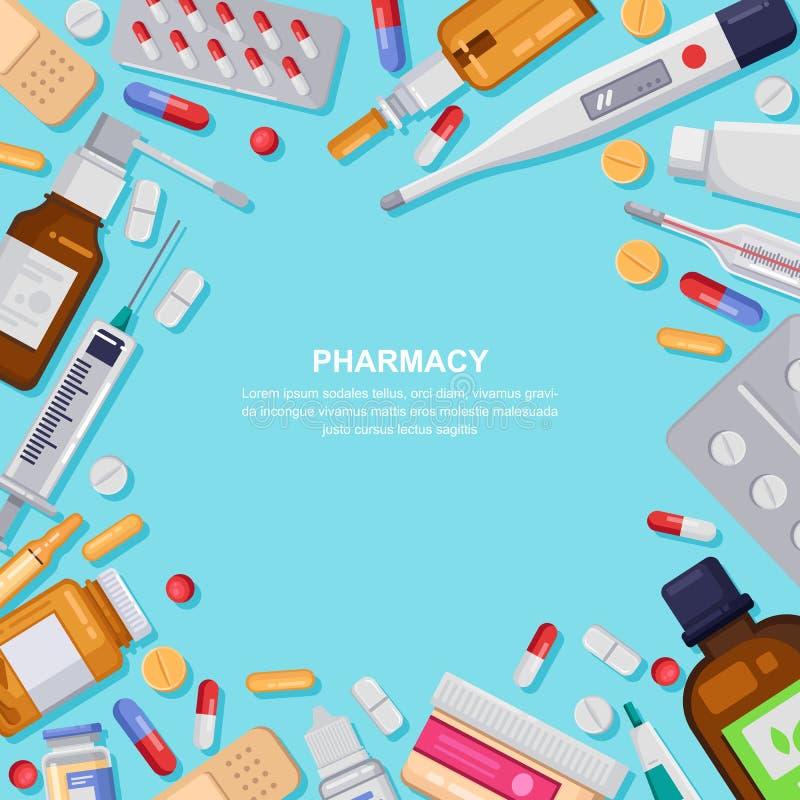 与药片,药物,瓶的药房框架 药房例证 医学,医疗保健横幅,海报背景 皇族释放例证