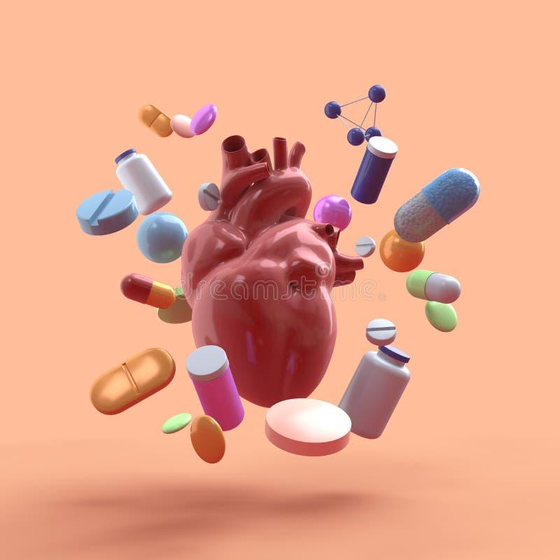 与药物的飞行的心脏在米黄背景 -3D?? 库存例证