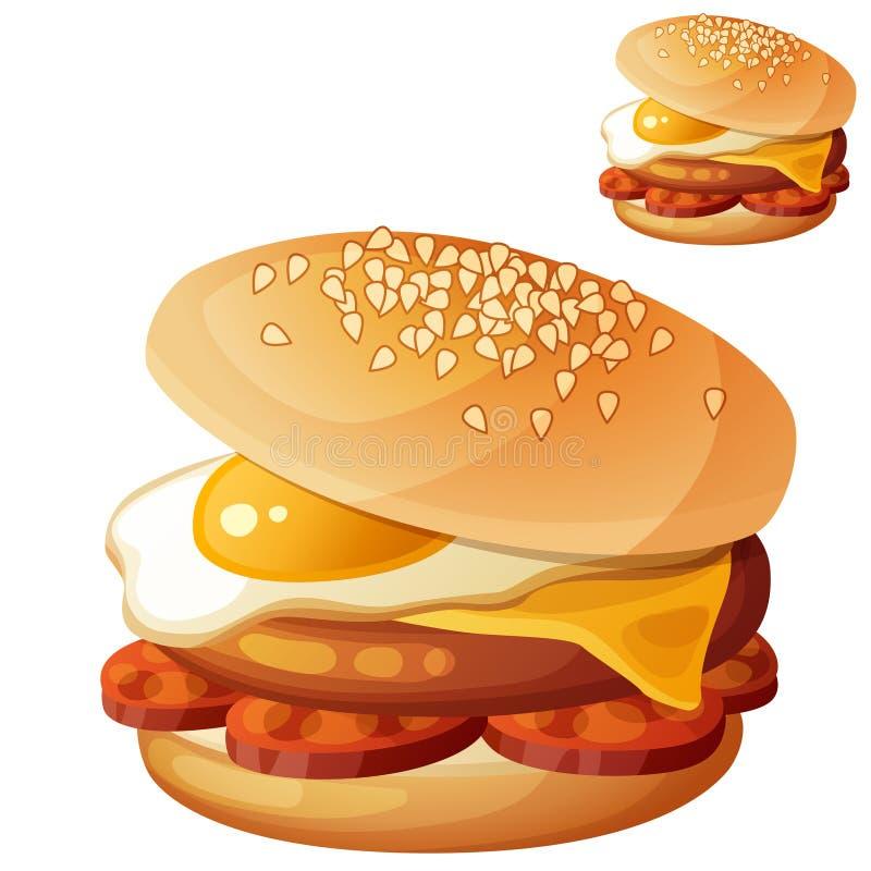 与荷包蛋,切达干酪,牛肉炸肉排,加调料的口利左香肠切片的汉堡 向量例证
