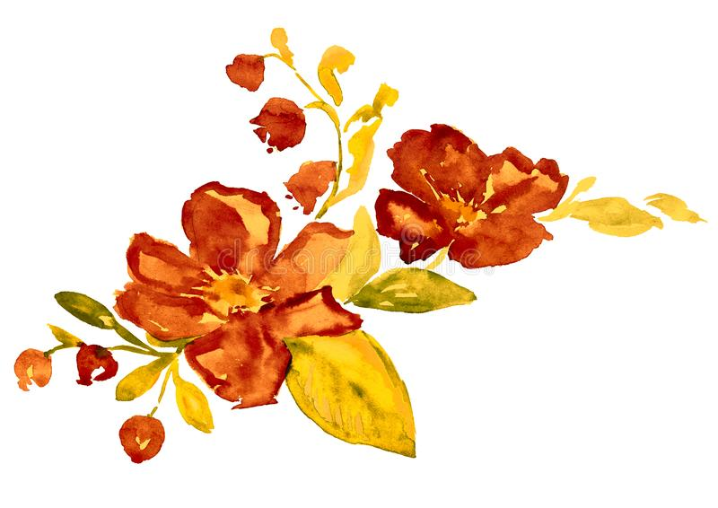 与莓果小树枝的野玫瑰果野生罗斯花和会开蓝色钟形花的草  向量例证