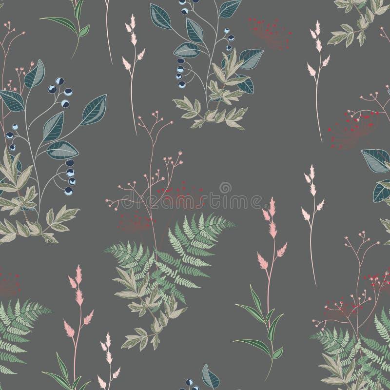 与莓果狂放的草甸花、草本、草、叶子和分支的传染媒介花卉无缝的样式  库存例证