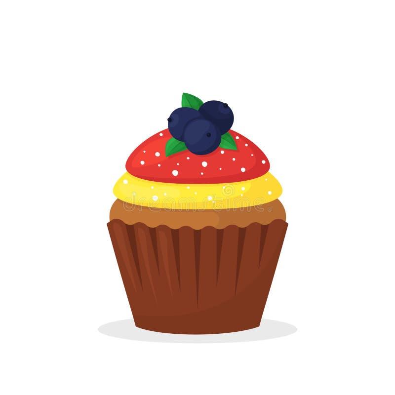 与莓果,黄色和红色奶油的巧克力碎片松饼 甜食,与结霜平的传染媒介象的杯形蛋糕 向量例证