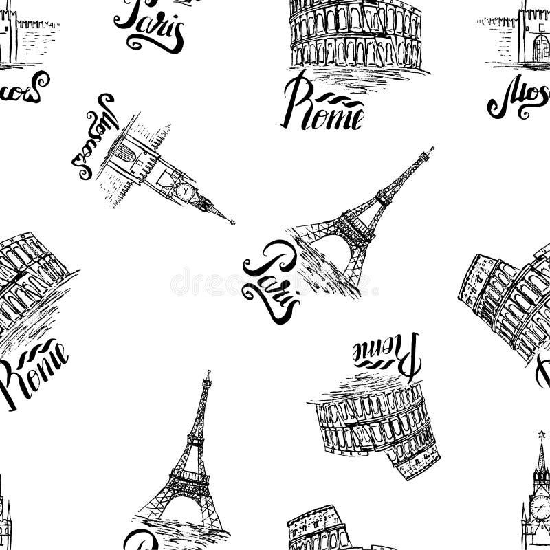 与莫斯科,巴黎,罗马标签,手拉的克里姆林宫,艾菲尔铁塔,大剧场的无缝的样式,在莫斯科上写字,巴黎,罗马 向量例证