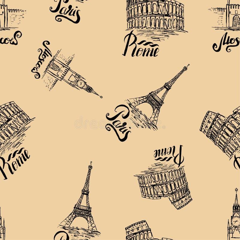 与莫斯科,巴黎,罗马标签,手拉的克里姆林宫,艾菲尔铁塔,大剧场的无缝的样式,在莫斯科上写字,巴黎, bei的罗马 库存例证