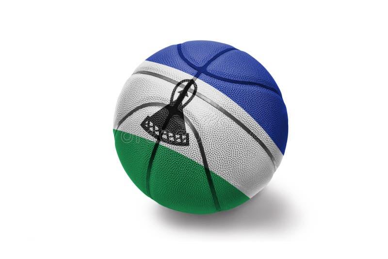 与莱索托的国旗的篮球球白色背景的 免版税库存照片