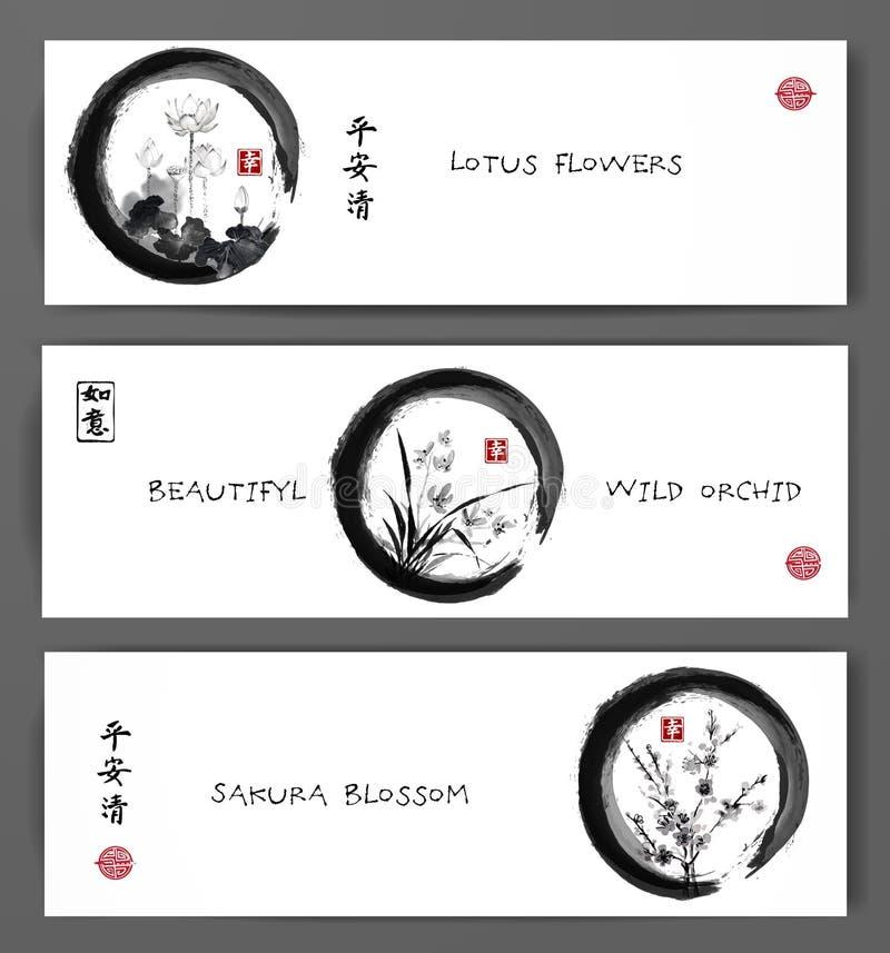 与莲花、野生兰花和佐仓的横幅在黑enso禅宗圈子开花 包含象形文字-和平 库存例证