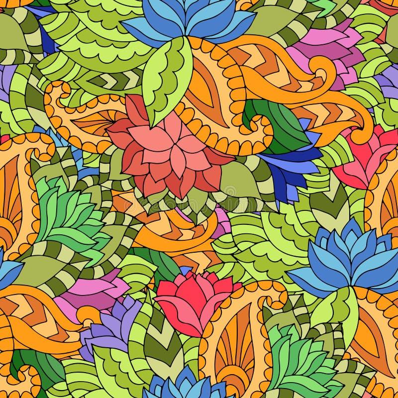 与莲花、paisleys和叶子的五颜六色的无缝的样式在g 库存例证