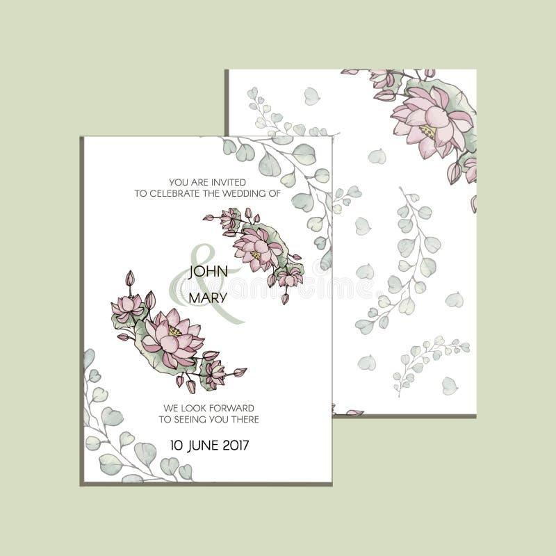 与莲花花的传染媒介邀请  现代婚礼收藏 谢谢拟订,保存日期卡片,菜单,横幅 库存例证
