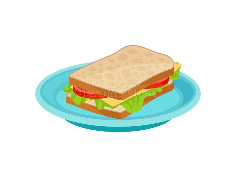 与莴苣叶子的鲜美三明治,在蓝色板材的切片蕃茄和乳酪 可口早餐平的传染媒介象 皇族释放例证