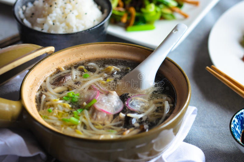 与菜、肉和鱼的豆芽汤 免版税库存照片