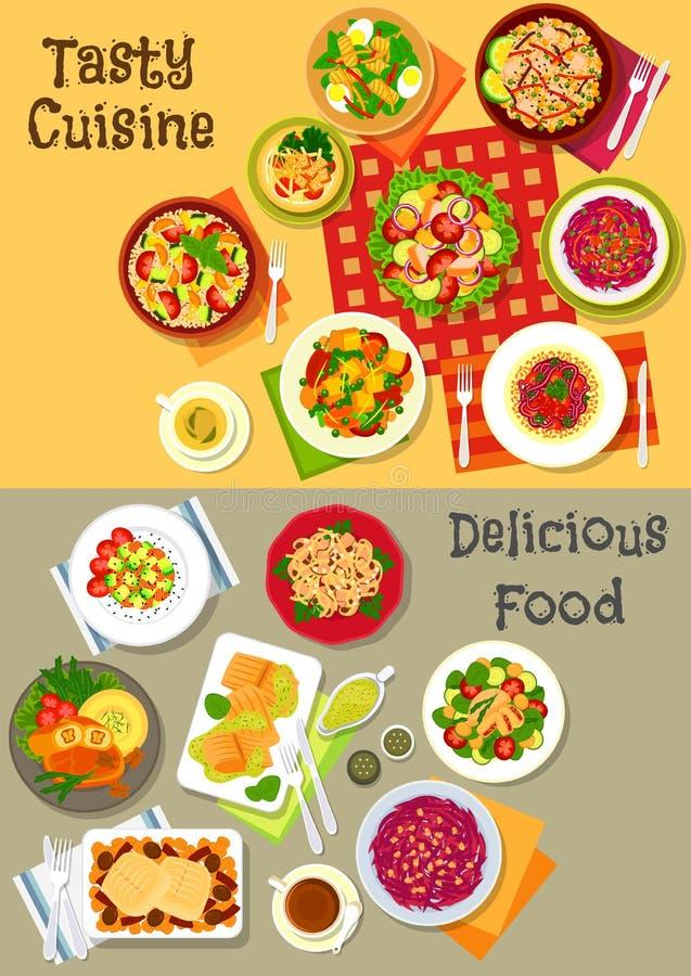 与菜、鱼和肉象集合的新鲜的沙拉 向量例证