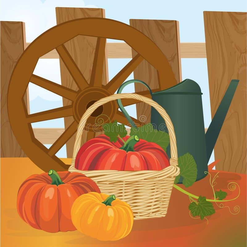 与菜和另外园艺设备,工具的庭院收获 也corel凹道例证向量 皇族释放例证