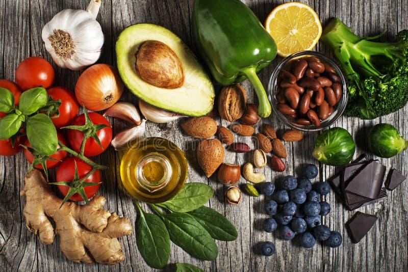 与菜和果子的健康食物 免版税库存照片