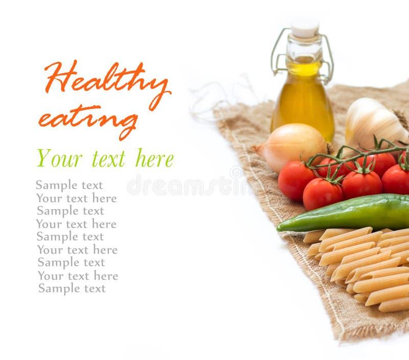与菜和橄榄油的意大利面团 免版税库存图片