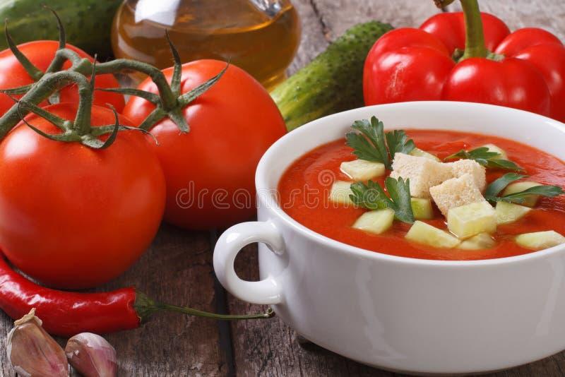 与菜和油的新鲜的蕃茄gazpacho汤 图库摄影