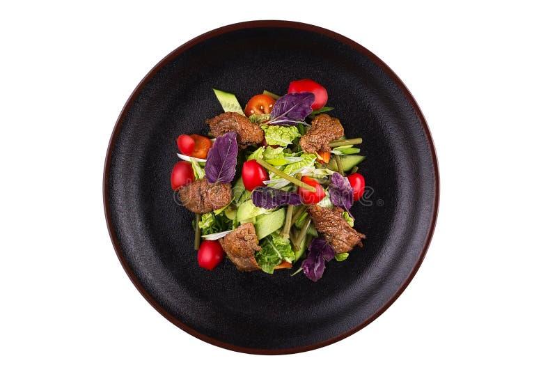 与菜和烤肉的辣亚洲沙拉 库存照片