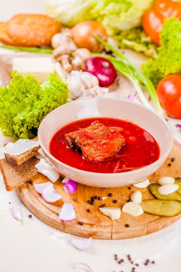 与菜和肉的罗宋汤在桃红色板材 图库摄影