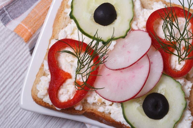 与菜和软干酪宏指令的健康三明治。 库存照片
