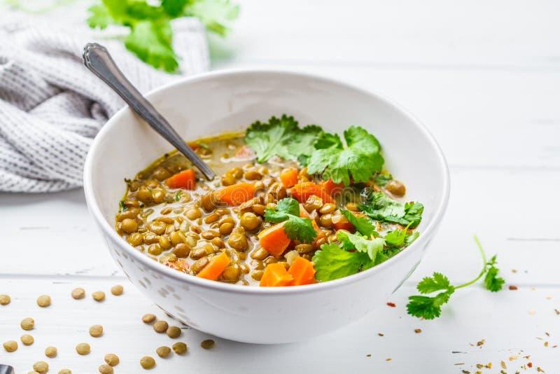 与菜和香菜,白色w的自创素食主义者扁豆汤 图库摄影