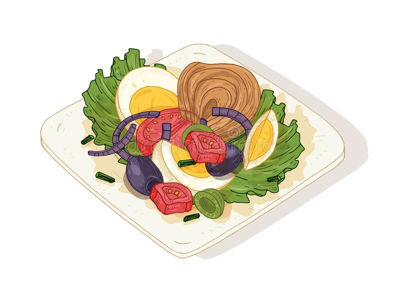 与菜和鱼的可口沙拉在白色背景隔绝的板材 鲜美健康的盘由鲥鱼制成 库存例证