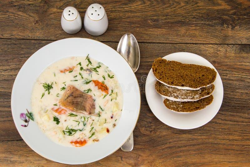 与菜和鳟鱼的牛奶奶油色汤 免版税库存照片