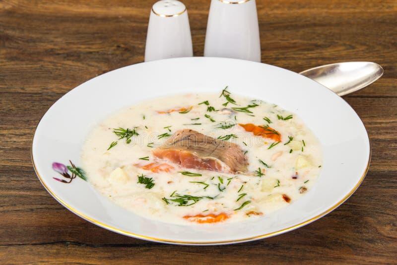 与菜和鳟鱼的牛奶奶油色汤 免版税库存图片