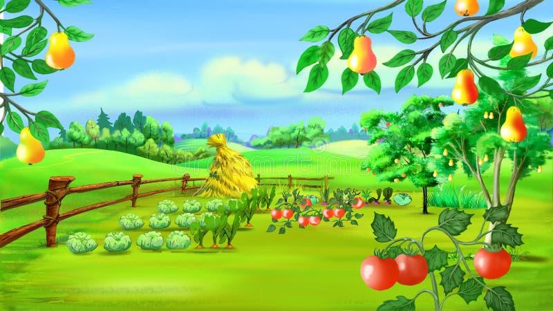 与菜园的农村风景 向量例证