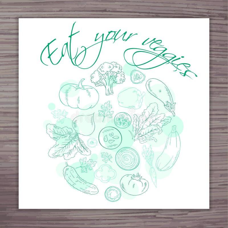 与菜的传染媒介手拉的海报盘旋和标签-吃您的素食者 皇族释放例证