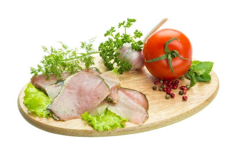 与菜的成熟新鲜的火腿 库存照片