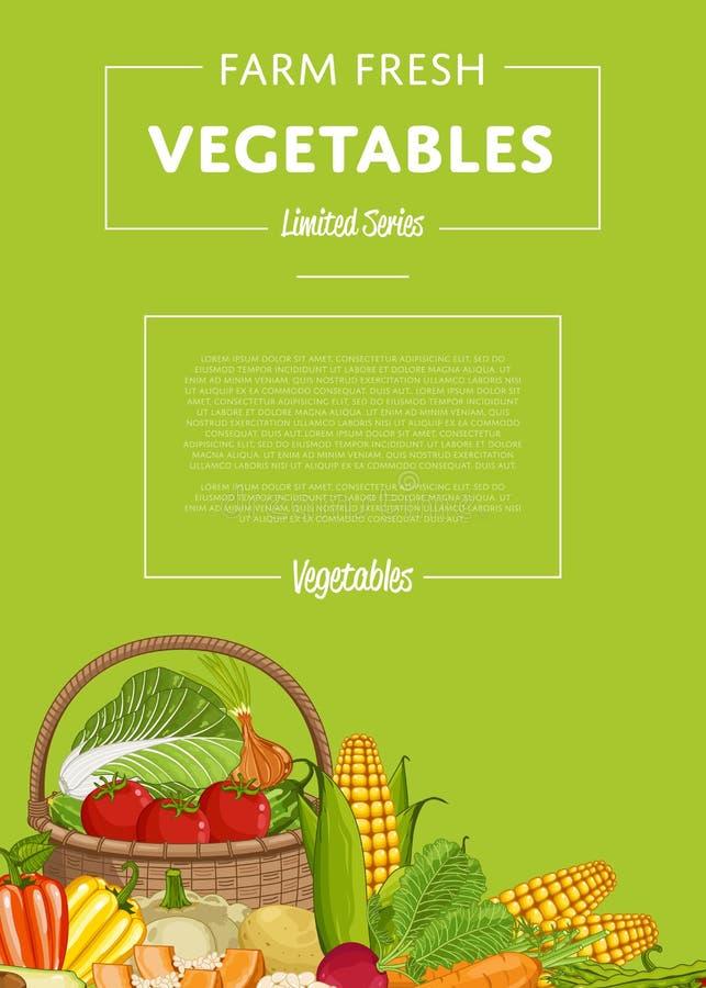 与菜的新鲜的农厂食物横幅 库存例证