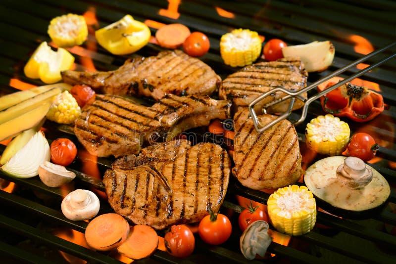 与菜的烤肉/steak 库存图片